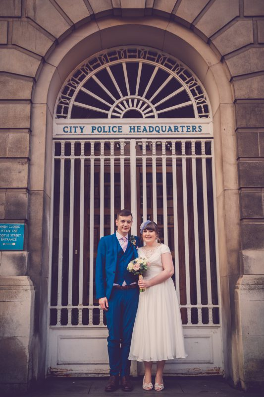 bride groom portrait police station