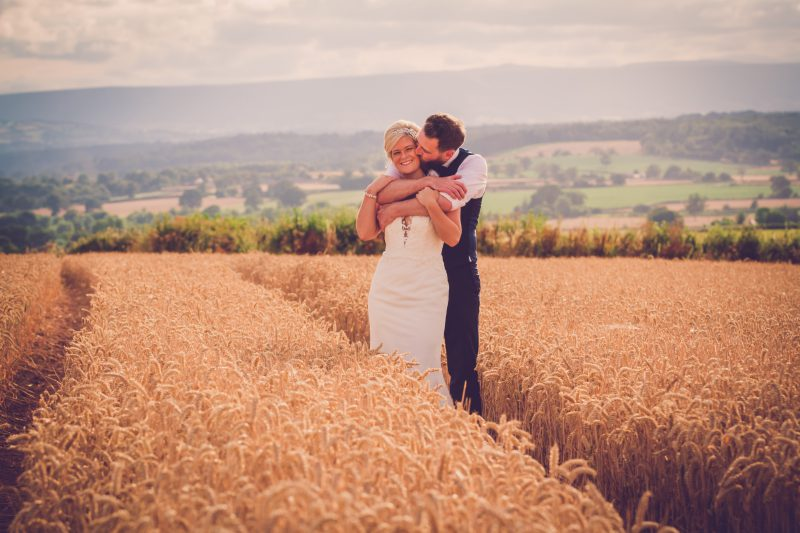 bride groom portrait cornfield
