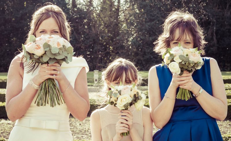 bride bridesmaids fun bouquets flowers
