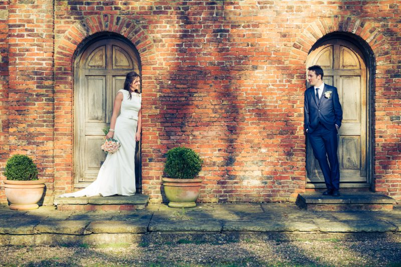 bride groom doorway portraits