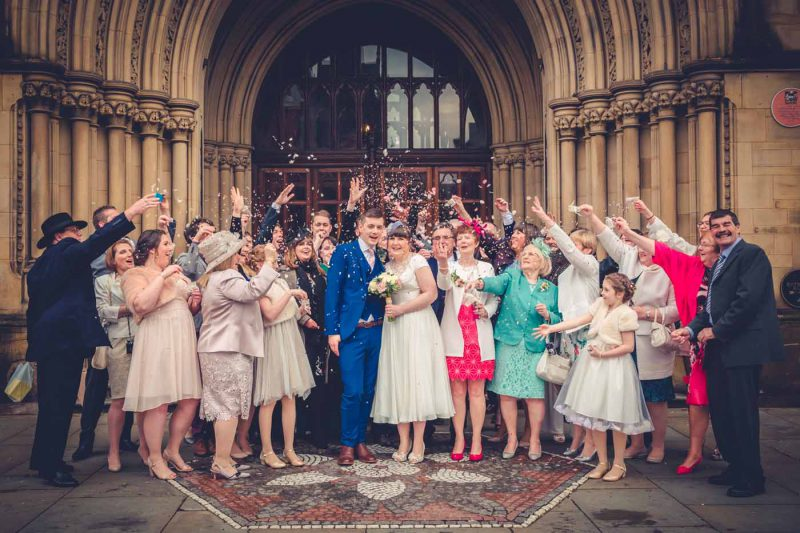 confetti Manchester town hall wedding